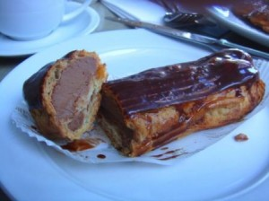 Chocolate eclair on a plate