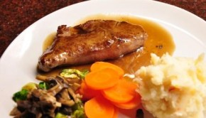 Porterhouse steak with saffron mash and sherry mushroom sauce
