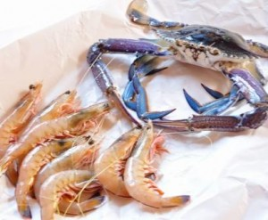 An image of blue swimmer crab and wild king prawns