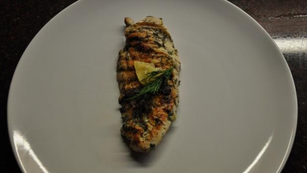 Marinated chicken seeks salad