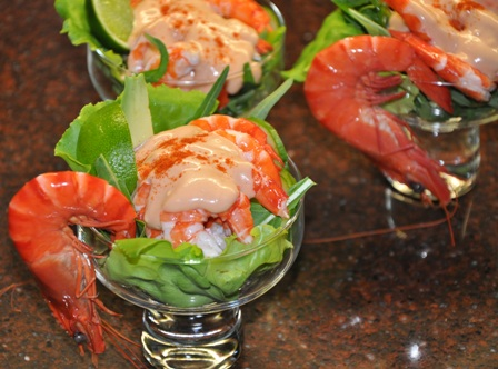 An image of prawn cocktail in glass bowls
