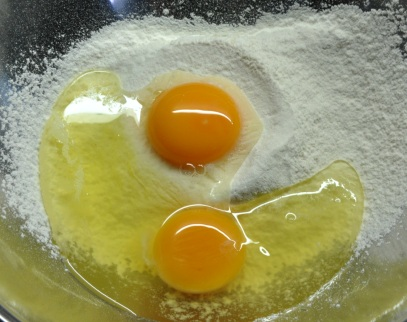 Eggs and sifted flour