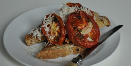 An image of slow roasted tomato with wholemeal toast, garlic and parmesan