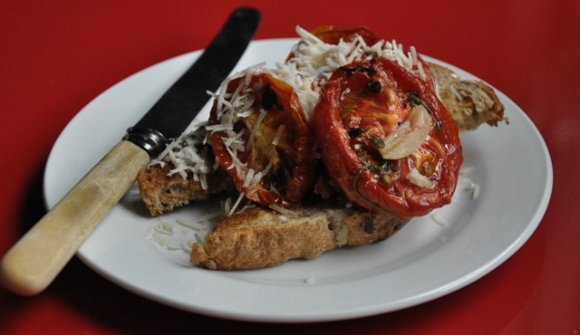 An image of slow roasted herbed tomatoes on toast