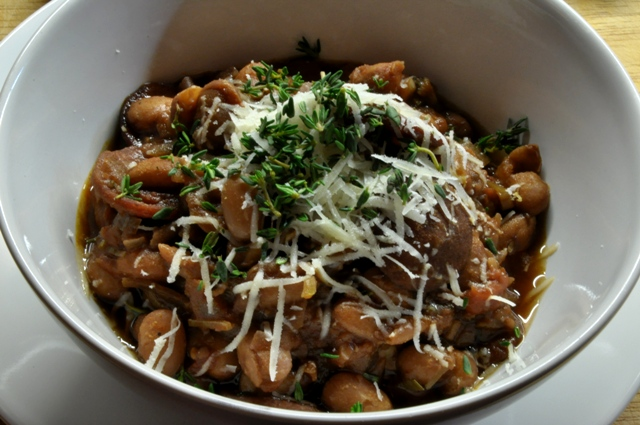 An image of chorizo and bean stew in a bowl