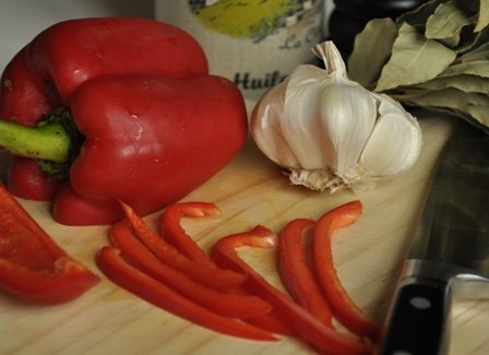Sliced capsicums