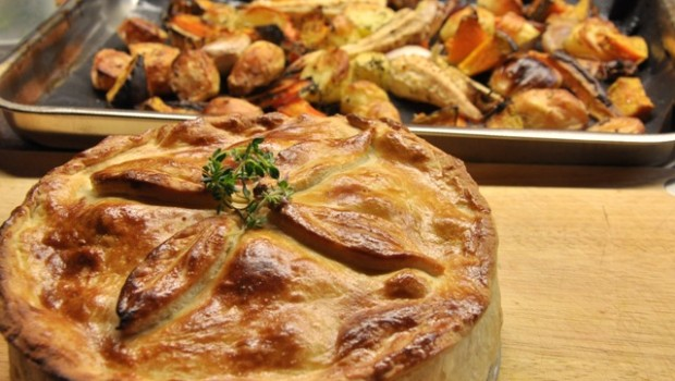 Rabbit and prune pie with roast veg