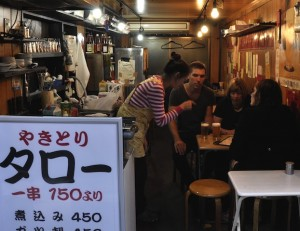 An image of a typical Japanese Yakitori bar in Tokyo