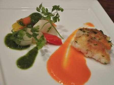 An image of sautéed herb crusted scallop and langoustine, grecque