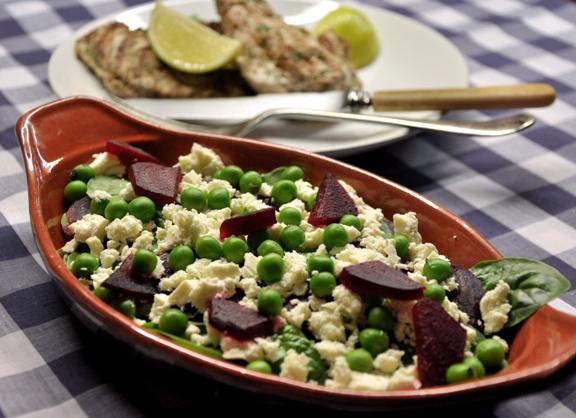 An image of Mediterranean lemon marinated chicken and feta, pea and beetroot salad