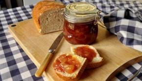Nectarine and vanilla jam on fresh bread