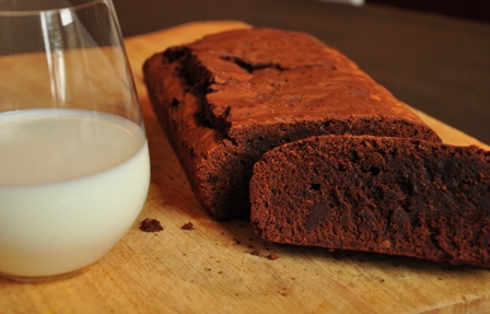 An image of a double dark chocolate brownie bar and a glass of milk