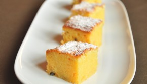 An image of white chocolate and passionfruit brownies