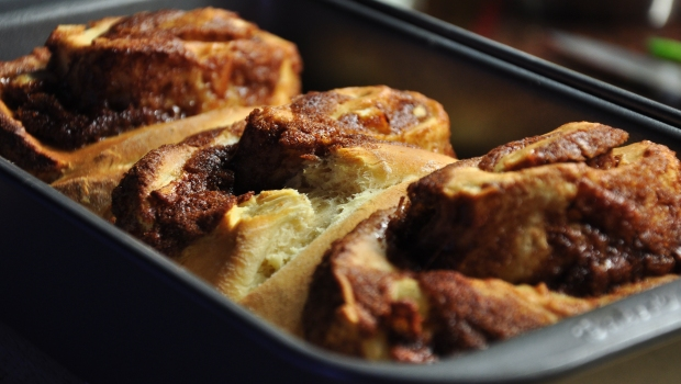 An image of fresh baked cinnamon and apple rolls