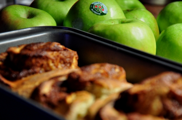 An image of cinnamon and granny smith apple rolls