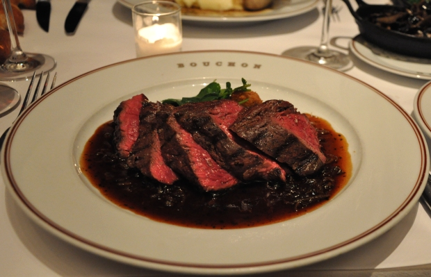 An image of grilled hangar steak at Bouchon