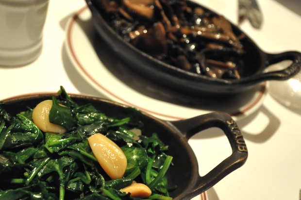 An image of Wild mushrooms and spinach at Bouchon