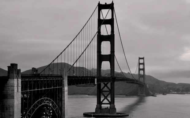A black and white image of the Golden Gate bridge