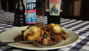 An image of beef stew with dumplings