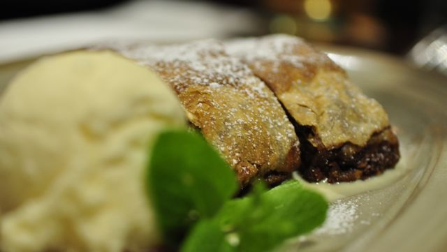 An image of apple and walnut strudel
