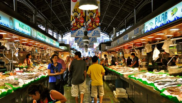 An image of fish stands at La Boqueria