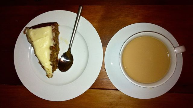An image of hummingbird cake and tea