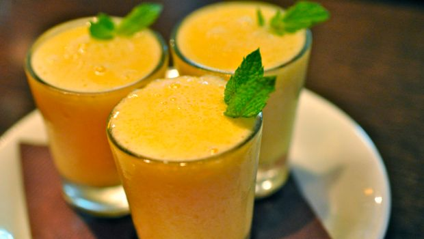 an image of mango and vodka shots