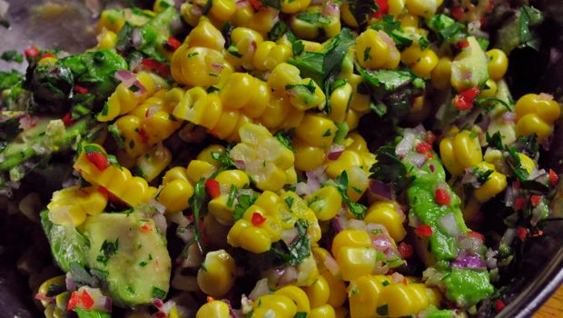 An image of corn and avocado salsa