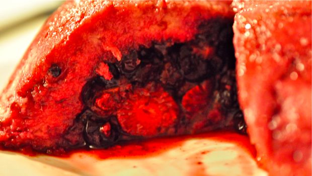 An image of a slice of summer pudding
