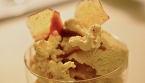 An image of home made vanilla and caramel swirl ice cream with salted caramel
