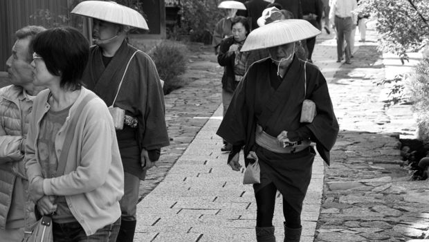 An image of pilgrims in Magome, Japan