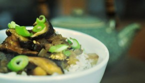 An image of aubergine and mushroom Chinese recipe in a bowl