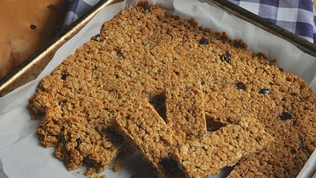 Flapjack slices on baking tray