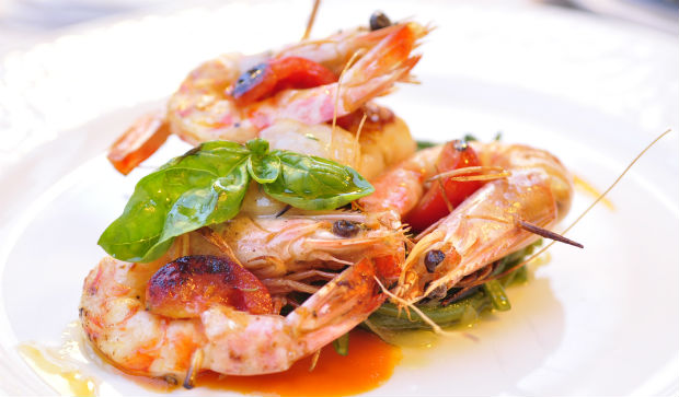 Italian restaurant review: pan fried prawns at Fratellini's Osterio del mare