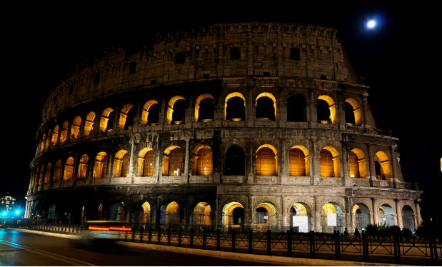 Rome's Colosseum at night