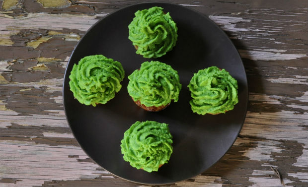 Five pork cupcakes with pea puree frosting