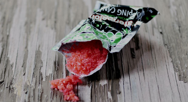 Popping candy on a board
