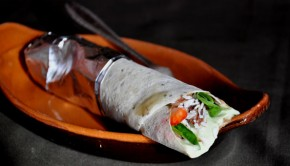 Avocado and coconut ice cream dessert burrito