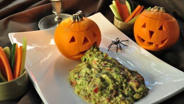 Halloween pumkin lantern with guacamole vomit