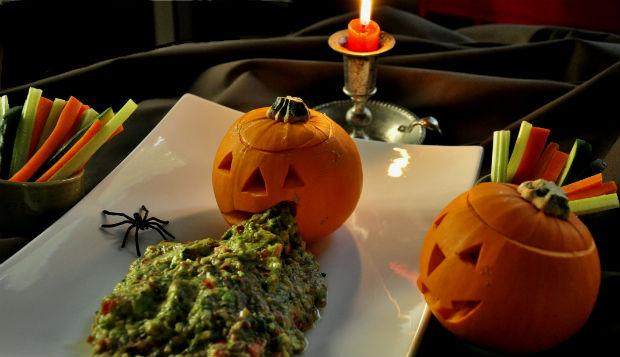Halloween pumpkin and guac vomit