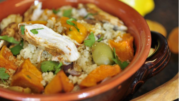 Moroccan chicken cous cous salad in a bowl