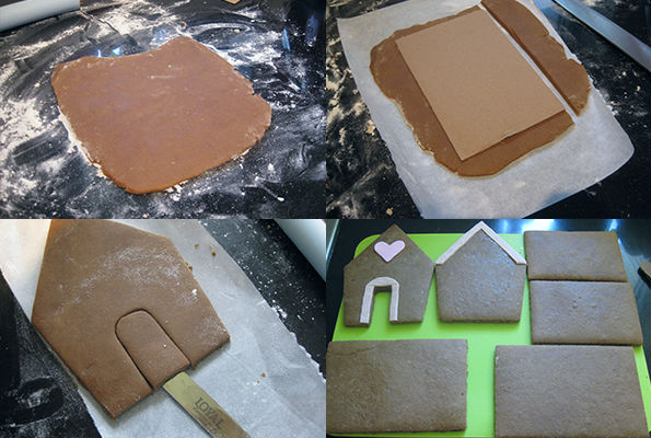 Cut pieces of gingerbread dough to make gingerbread house