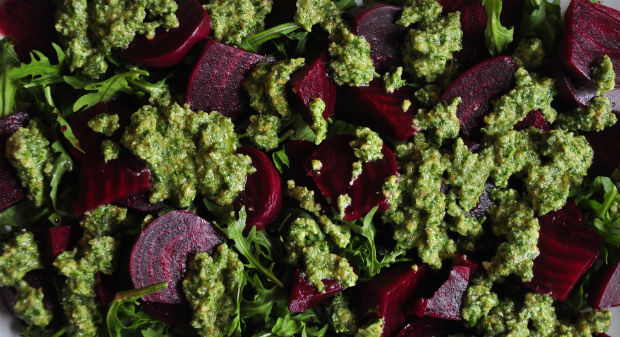 Rocket and walnut pesto and beetroot salad