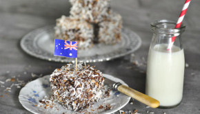 Triple chocolate lamingtons with a bottle of milk