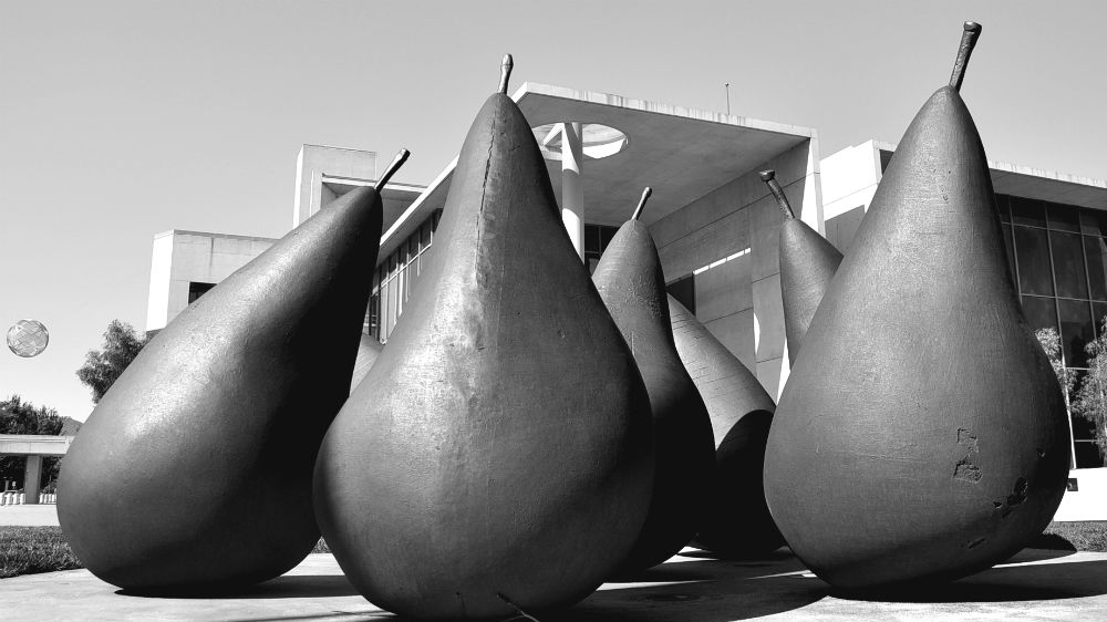 Pear sculpture in front of the National Gallery of Australia