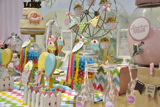 Funfair themed dessert table showcase at Cake Bake and Sweets 2014