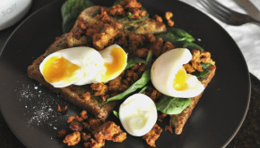 Deconstructed chorizo with eggs and spinach