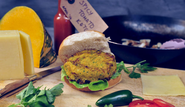 Pumpkin and chickpea vegetarian burger