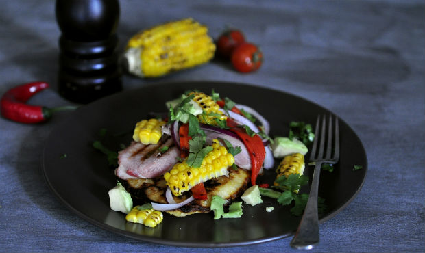 Sweetcorn fritters with corn salsa and bacon