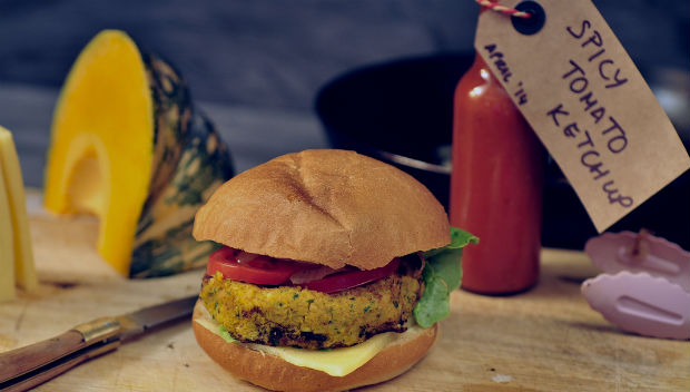 Pumpkin & chickpea vegetarian burger